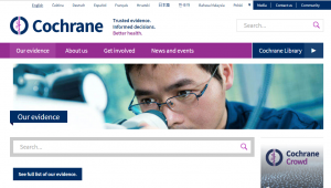 Image showing screen grab of the Cochrane website