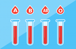 An image showing human blood types in test tubes