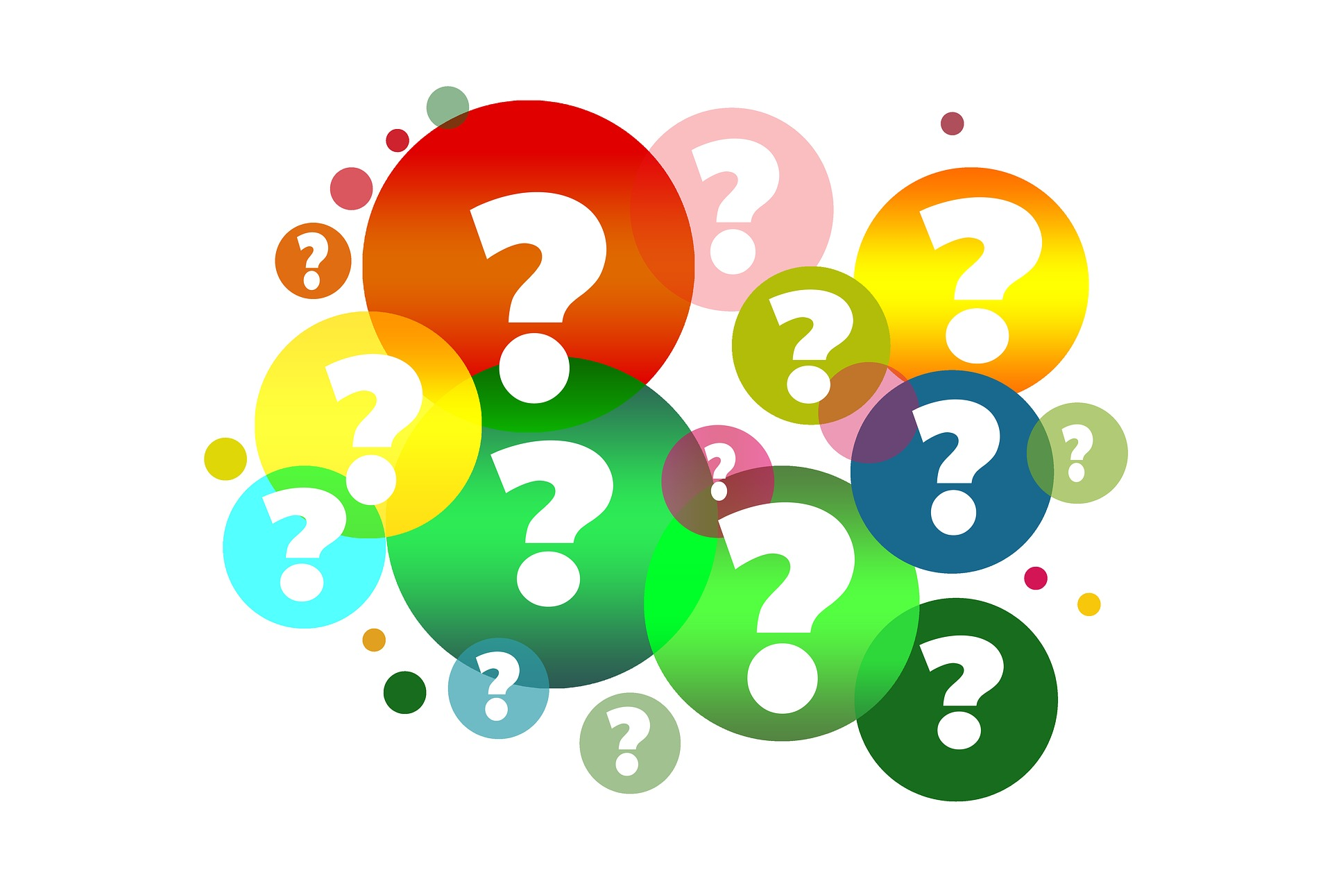Image showing colourful question marks