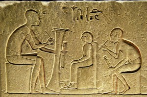 An image showing a hieroglyph of a scholar
